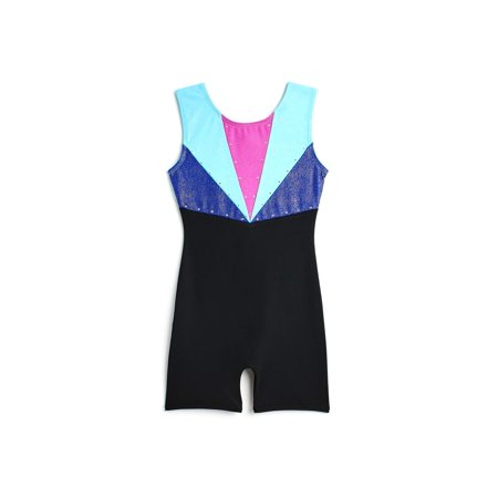 Jacques moret Girls Colorblocked Dance & Gymnastics Biketard (Black Leotard Gymnastics)