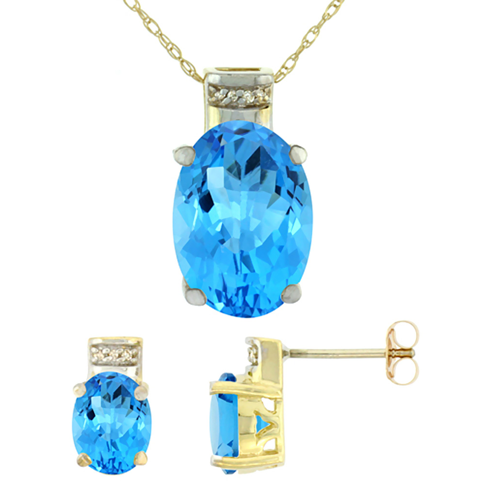 10K Yellow Gold Natural Oval Swiss Blue Topaz Earrings & Pendant Set Diamond Accents by WorldJewels