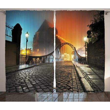 Bridge 2 Light (Vintage Curtains 2 Panels Set, Modern City Bridge at Night with Mystical Lights Illumination Sightseeing Urban Photo, Living Room Bedroom Decor, Grey Orange, by Ambesonne)