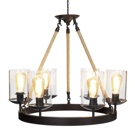 Best Choice Products Living/Dining Room Modern Rustic Rope Design 6-Light Chandelier Pendant Lighting - Rustic Style Chandelier