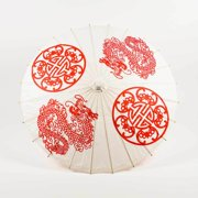 "Quasimoon 32"" Dragon Double Happiness Paper Parasol Umbrella by PaperLanternStore"