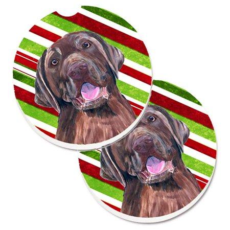 Labrador Candy Cane Holiday Christmas Set of 2 Cup Holder Car Coaster