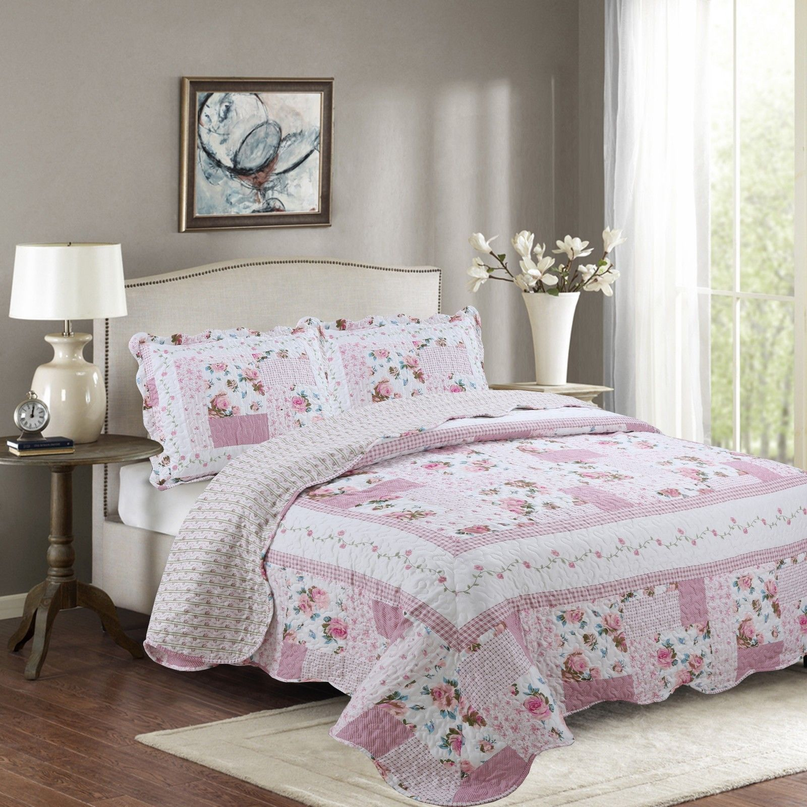 Fancy Linen 2pc Twin Reversible Bedspread Floral Pink White Green New # Melody