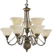 Progress Lighting P4121 Savannah 9 Light Chandelier with Antique Alabaster Glass