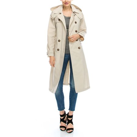 Womens Double Breasted Thick 100% Waterproof Fashion Hood Belted Trench Coat DC0111-S-Sand for $<!---->