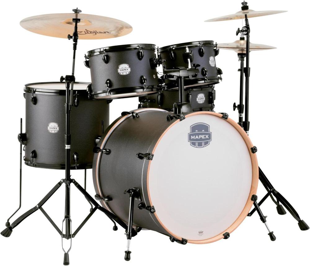 "Mapex ST5295FBIZ Storm Rock 22"" Bass Drum 5-Piece Drum Set w  Hardware Deep Black by Mapex"