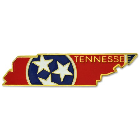 PinMart's State Shape of Tennessee  and Tennessee Flag Lapel -