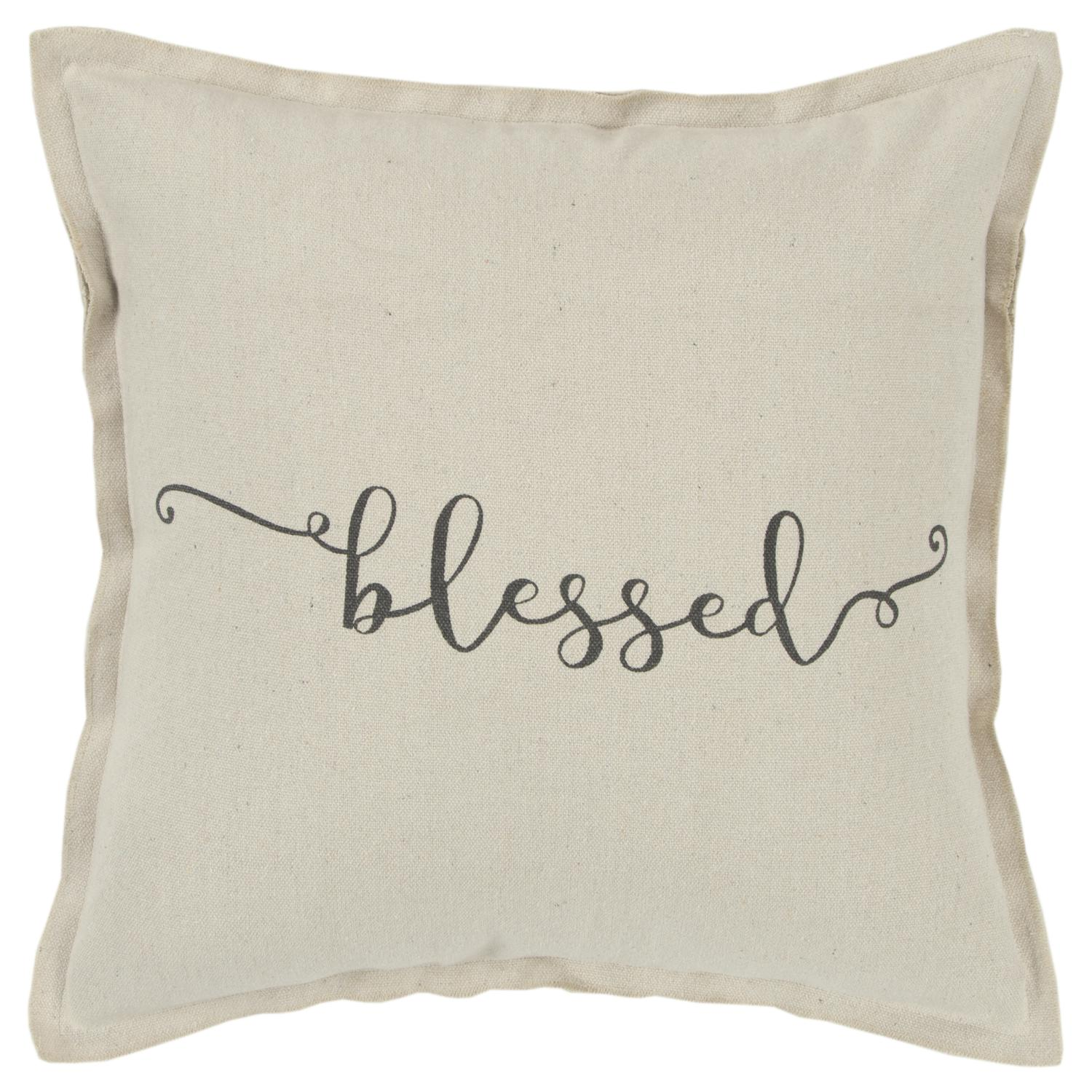 "Rizzy Home Holiday ""Blessed"" Poly Filled Decorative Throw Pillow, 20"" x 20"", Natural"