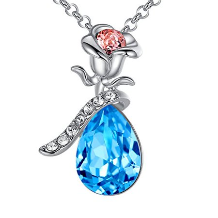 Leafael Rose Teardrop Pendant Necklace Made with Swarovski Crystals, 18