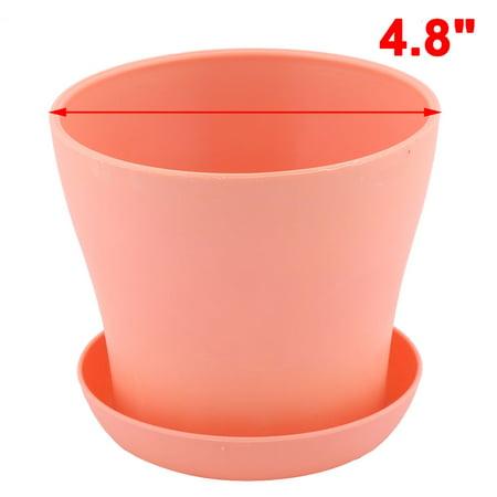 H tel fenêtre ronde Plastique rose fleur Plante Pot Orchidée Aloes Support bac Coral Pink - image 1 de 4