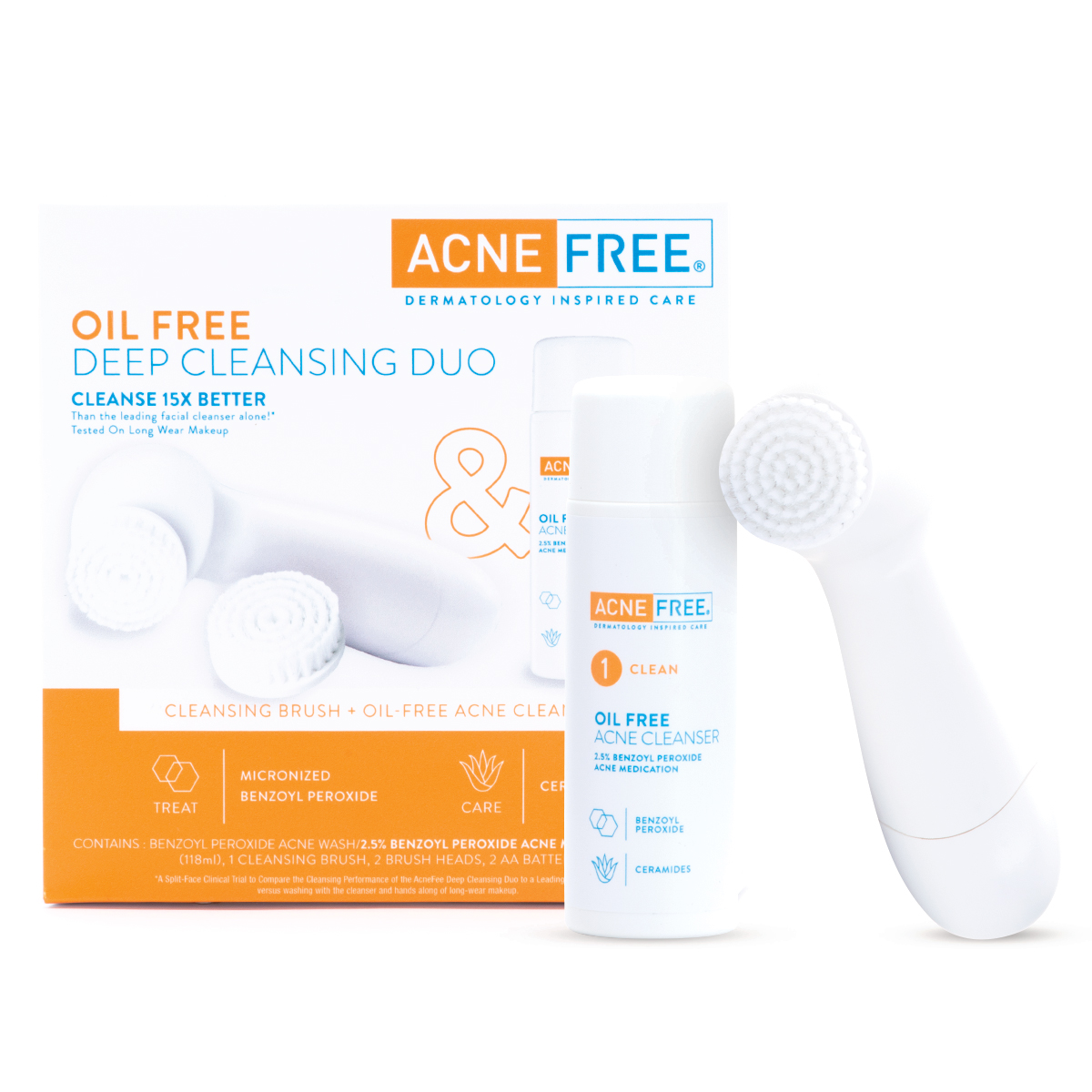Acnefree Deep Cleansing Duo Brush Oil Free Acne Face Cleanser