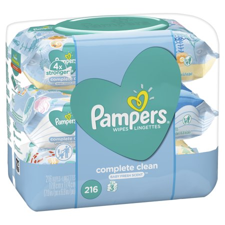 Pampers Baby Wipes, Complete Clean Scented, 3X Pop-Top Packs, 216 Count