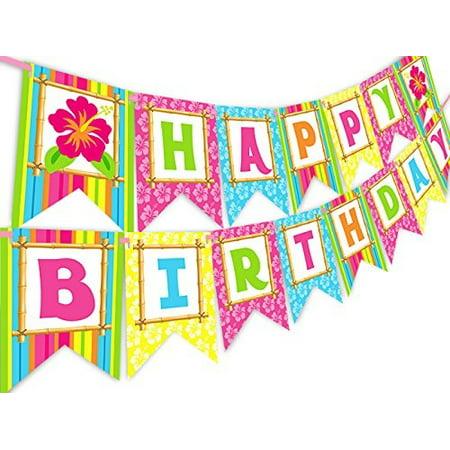 luau tiki happy birthday banner pennant](Birthday Luau Ideas)