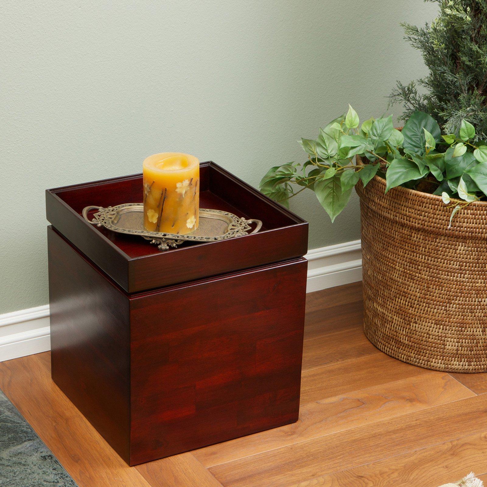 Kayla Chessboard Wood Storage Ottoman - Brown