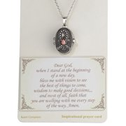 Pink Ribbon with Prayer Scroll inside Locket 18 Textured Necklace
