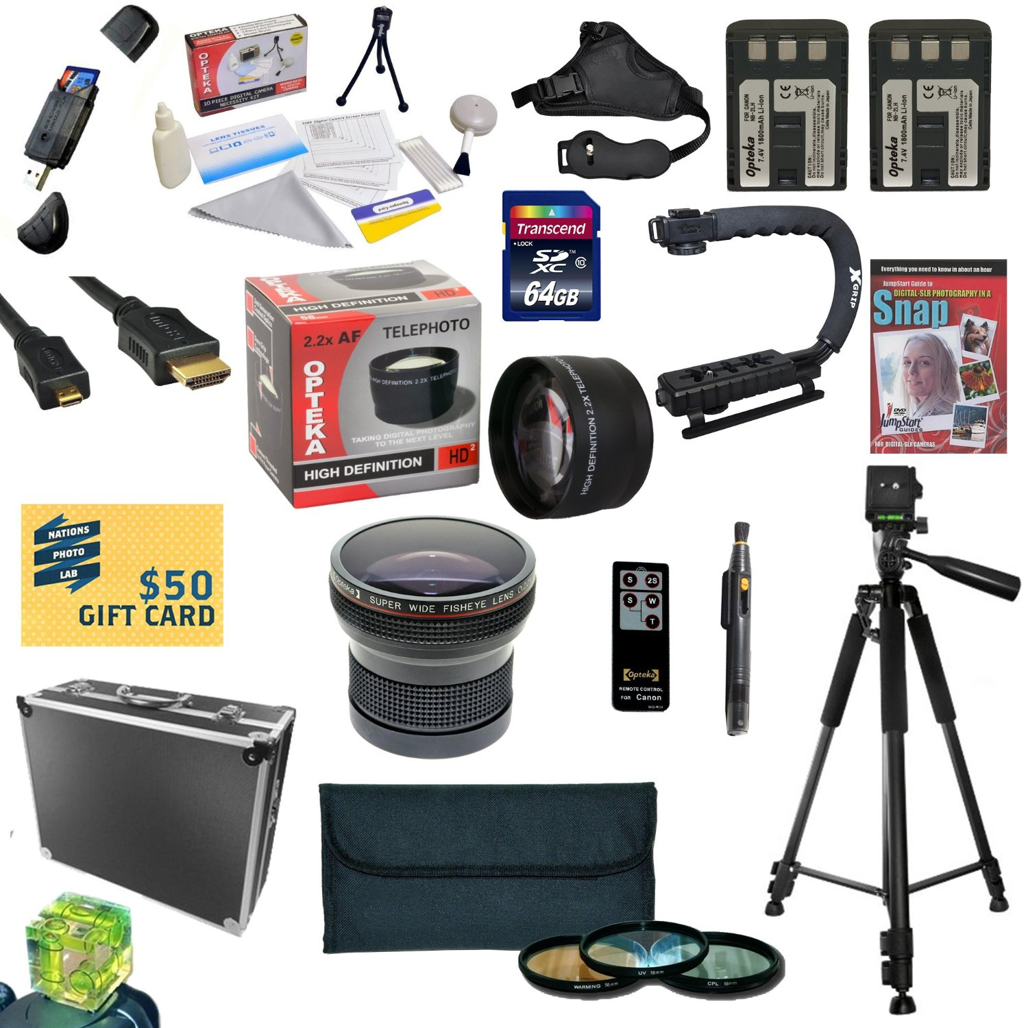 All Sport Kit for Canon XT XTI Includes 64GB High Speed SDXC Card + 2 Batteries + Dual Charger + 0.20X + 2.2x... by Opteka