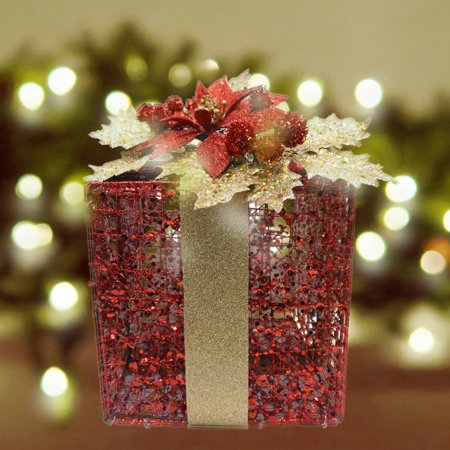 holiday time glitter wire gift box decor red - Christmas Gift Box Decorations