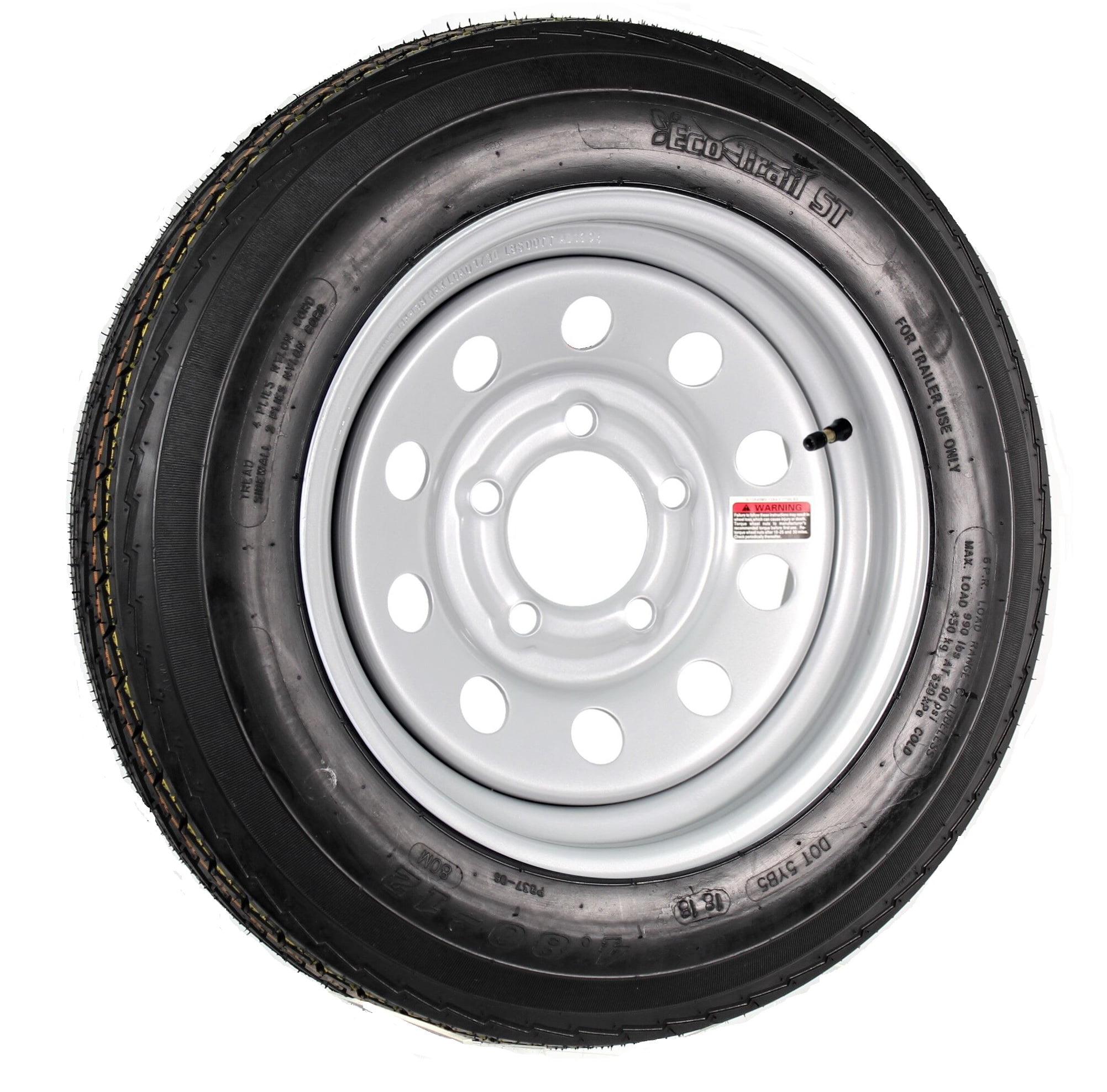 2-Pack Trailer Tire On Rim 480-12 4.80-12 480X12 Load B 5 Lug Silver Modular