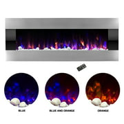 Electric Fireplace- Wall Mounted Color Changing LED Fire and Ice Flames, (HEAT or NO HEAT options), Multiple Decorative Options and Remote Control, 54 inch by Northwest