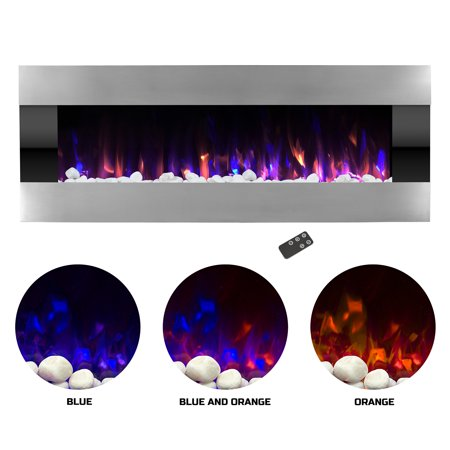 Electric Fireplace- Wall Mounted Color Changing LED Fire and Ice Flames, (HEAT or NO HEAT options), Multiple Decorative Options and Remote Control, 54 inch by Northwest (Decorative Electric Fireplace)