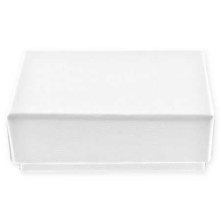 10 Pack - White Swirled Cotton Filled Small Jewelry Gift Box