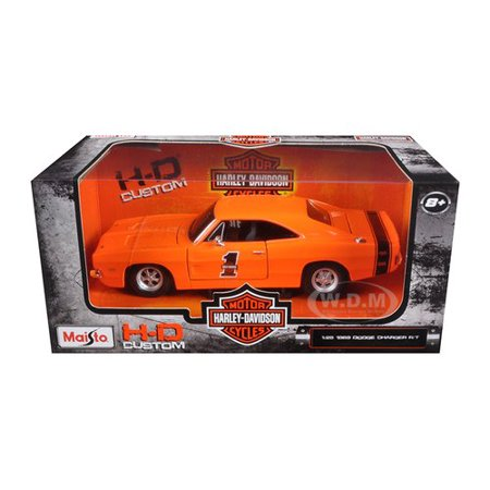 New 1:25 W/B HARLEY DAVIDSON COLLECTION - ORANGE 1969 DODGE CHARGER R/T Diecast Model Car By, Maisto 1:25 W/B MAISTO HARLEY DAVIDSON COLLECTION By (1969 Dodge Charger Rt For Sale Cheap)