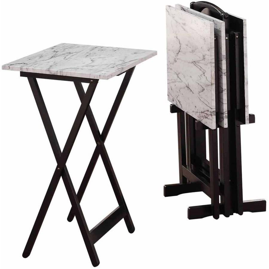Linon White Faux Marble Tray Table Set, 4 Tray Tables Plus Stand
