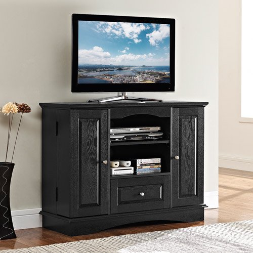 Walker edison 42 black wood highboy tv stand for tvs up to 48 muliple colors for Tall bedroom tv stand