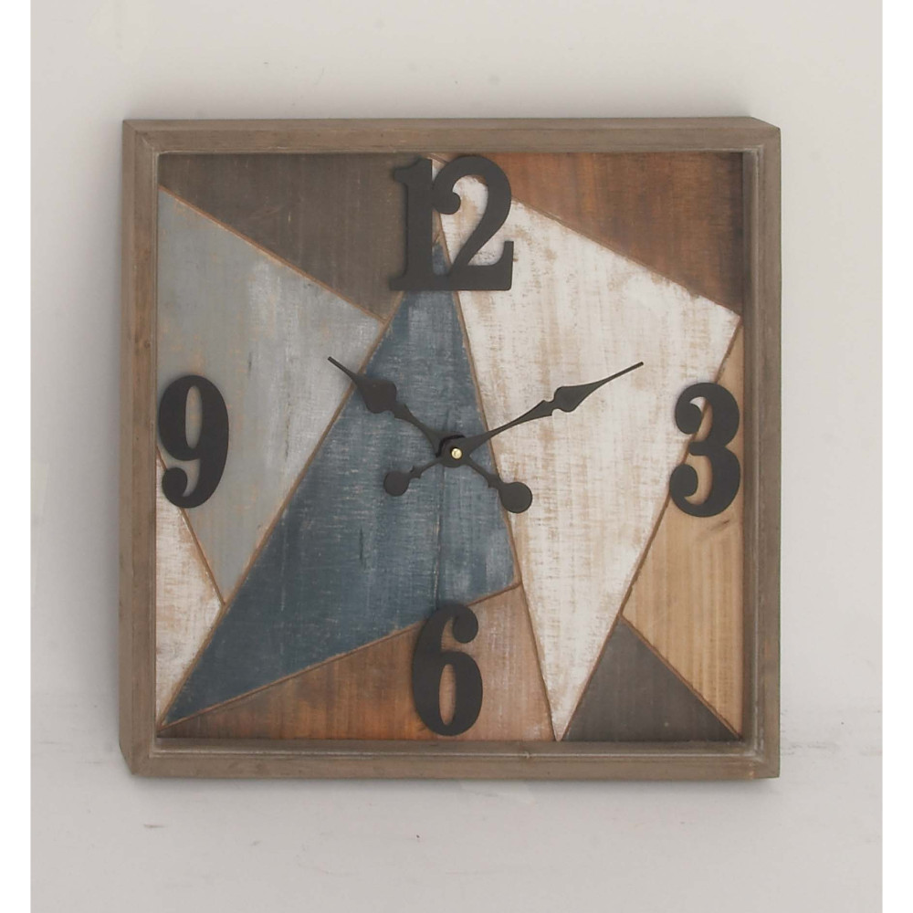 Multi-Color Wood Metal Wall Clock