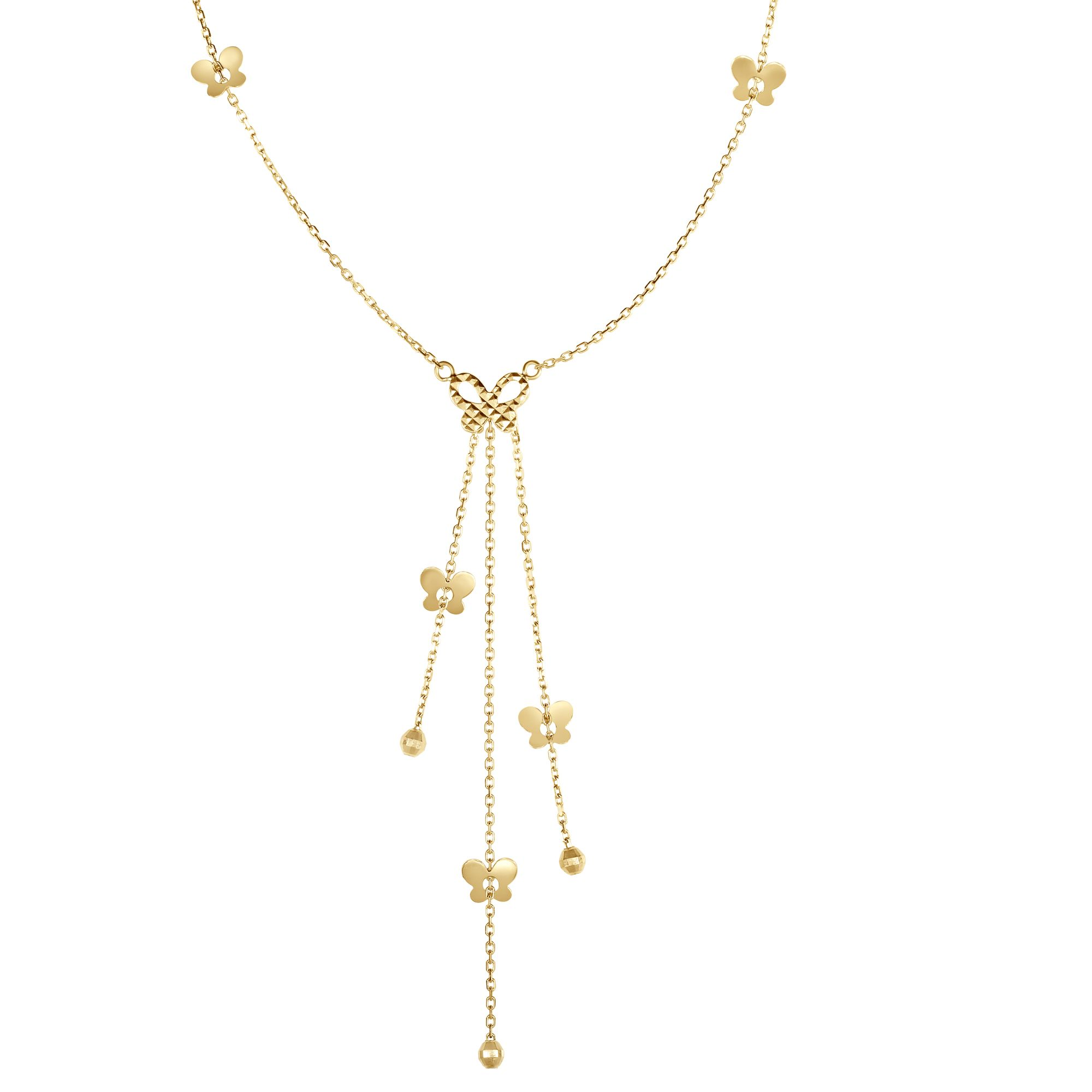 14K Yellow Gold Shiny+Diamond Cut Cable Chain Lariat Type Necklace with Butterfly Elements+Lobs ter Clasp by Goldia