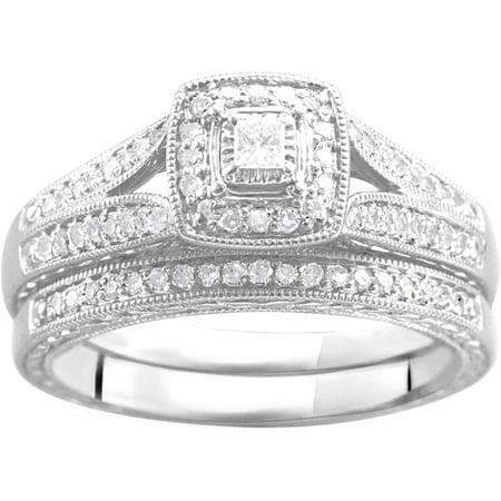1 3 Carat T W Diamond Bridal Set In Argentium Silver