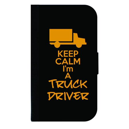 Keep Calm I'm a Truck Driver - Wallet Style Cell Phone Case with 2 Card Slots and a Flip Cover Compatible with the Apple iPhone 4 and 4s (Best Cell Phone For Truck Drivers)
