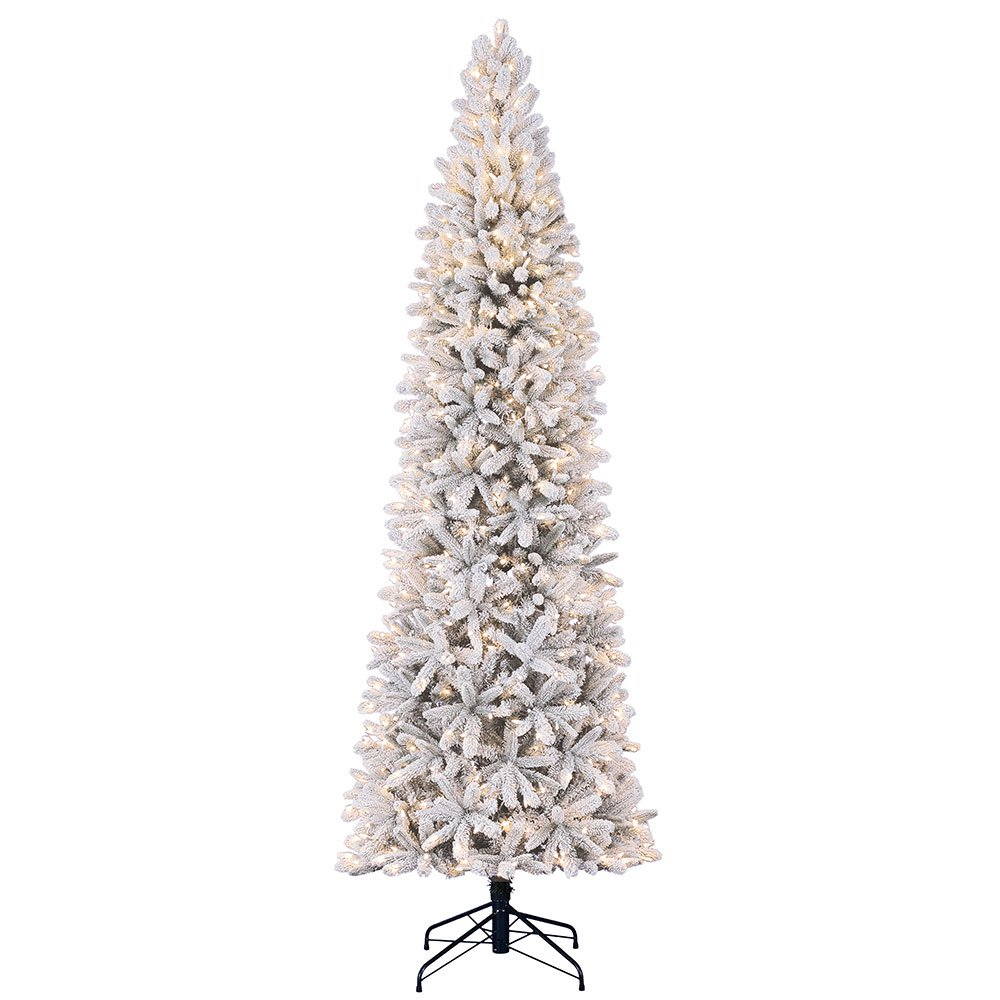 Home Heritage 9 Foot Frosted Alpine Quick Set Artificial Pre Lit Christmas Tree