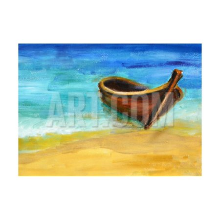 Boat on the Beach, Oil Painting on Canvas Print Wall Art By Valenty ()