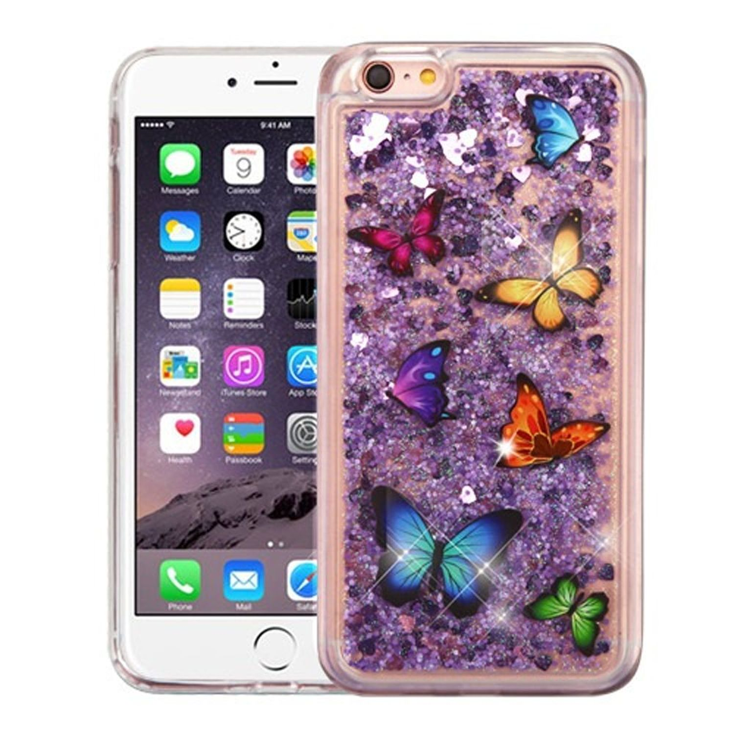 iPhone 6s Plus Case, iPhone 6 Plus Case, by Insten Quicksand Glitter Butterflies Hard Plastic Soft TPU Rubber Case Cover... by