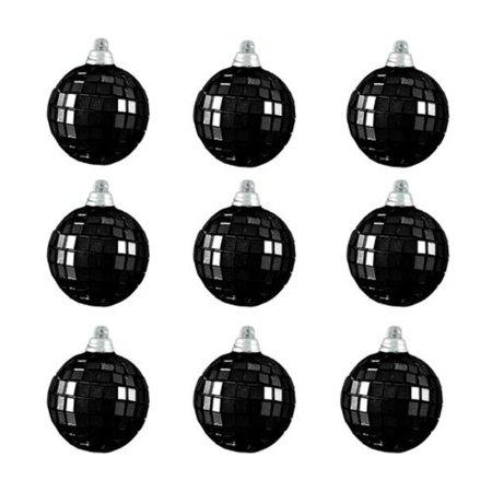 9ct Jet Black Mirrored Glass Disco Ball Christmas Ornaments 2.5