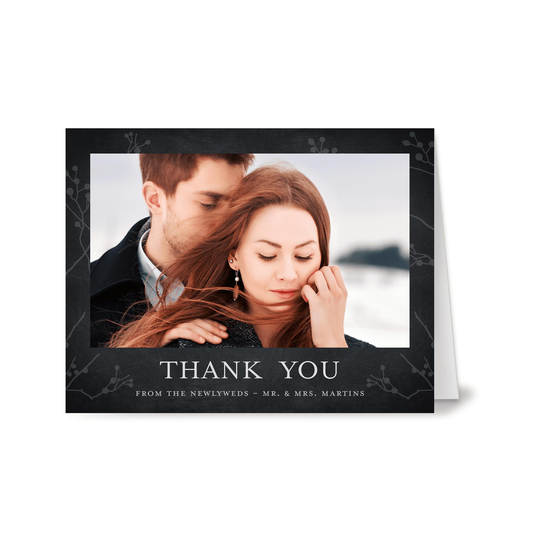 Personalized Wedding Thank You Card - Rustic Woodgrain - 4.25 x 5.5 Folded
