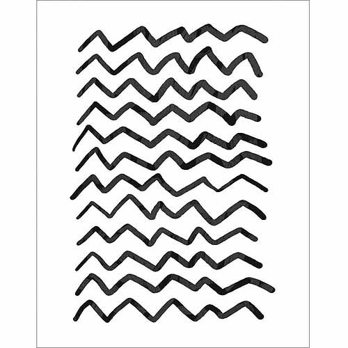 Black Chevron Drawing Abstract Pattern Contemporary Modern Trendy Black & White Canvas Art by Pied Piper Creative