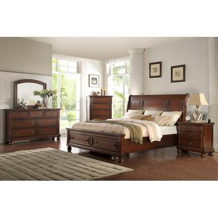 McFerran B608-Q Cherry Wood Finish Queen Platform Bedroom Set 4Pcs
