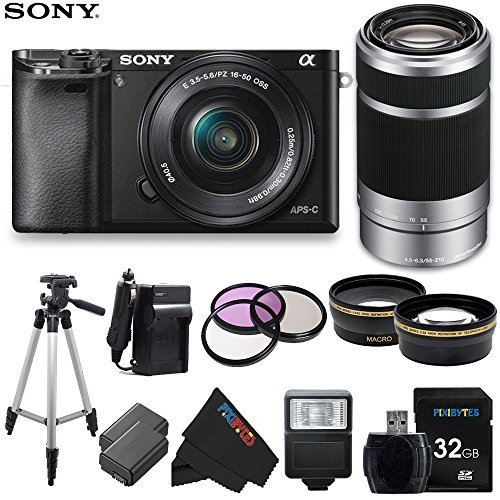 Sony Alpha a6000 ILCE6000 Interchangeable Lens Camera with 16-50mm Power Zoom Lens & Sony E 55-210mm F4.5-6.3 OSS Lens (Silver) + Pixi-Advanced Accessory Bundle