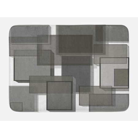 Bath Functional 3 Light - Taupe Bath Mat, Three Dimensional Cubes Geometric Modern Abstraction Square Shapes Print, Non-Slip Plush Mat Bathroom Kitchen Laundry Room Decor, 29.5 X 17.5 Inches, Taupe Pale Grey Green, Ambesonne