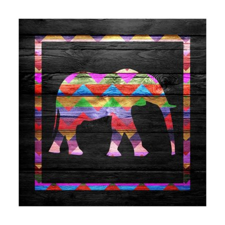 Chevron Elephant Pattern on Wood Print Wall Art By ngonhan ()