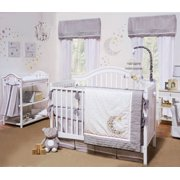 Petit Tresor Crib Bedding Set - Grey and White Celestial Theme - Nuit 4 Piece Baby Crib Bedding Set