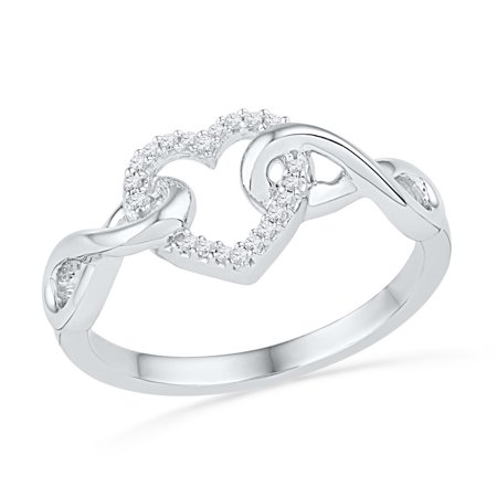 Infinity Twist (10kt White Gold Womens Round Diamond Infinity Twist Heart Ring 1/10 Cttw )