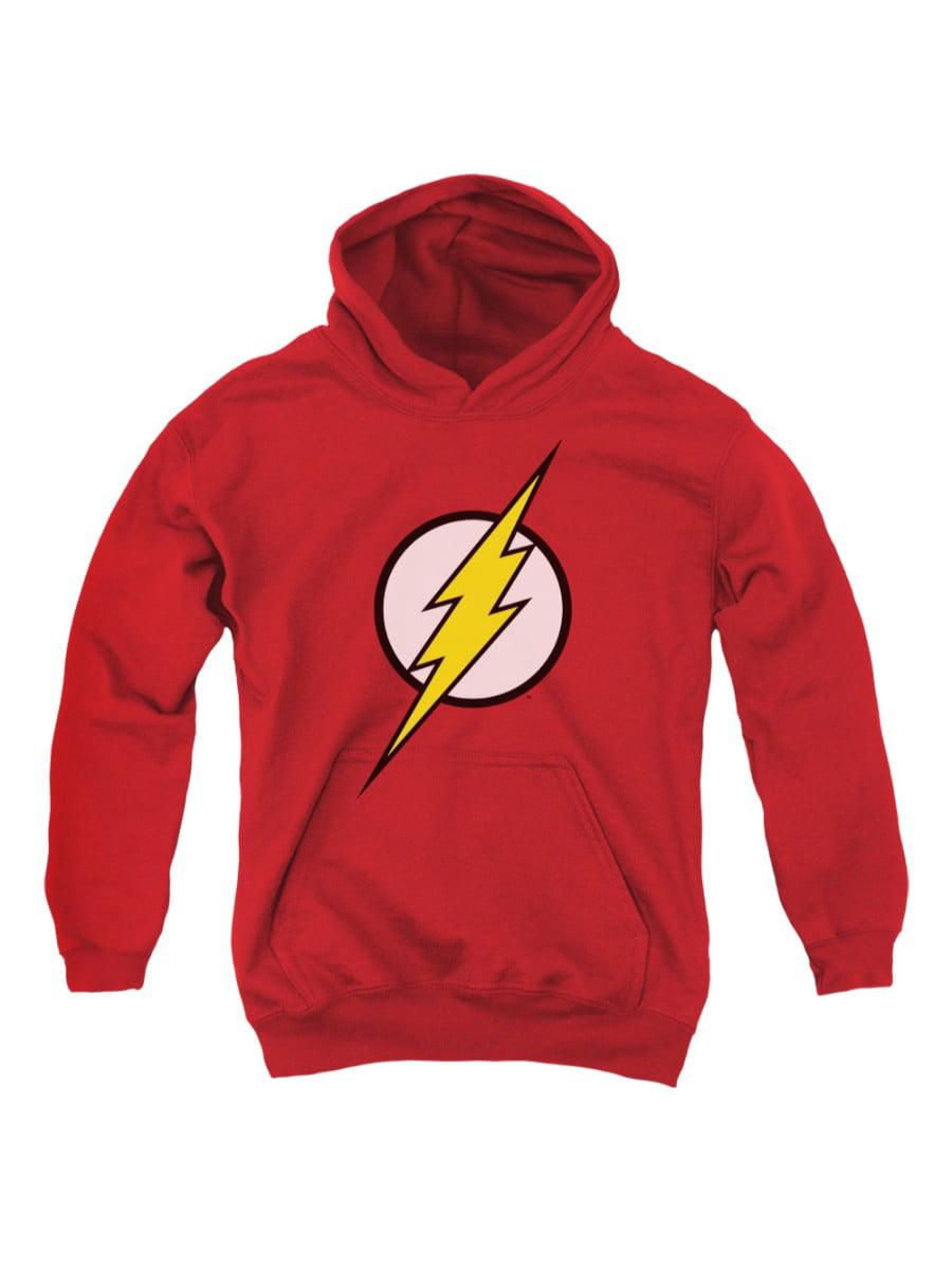 jla/flash logo youth pull over hoodie   red   jla122