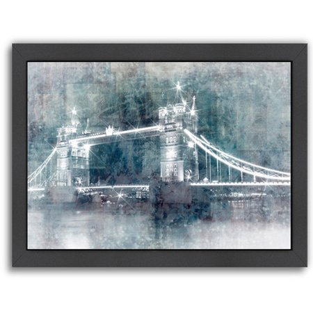 East Urban Home Digital Art Tower Bridge At Night Framed Graphic Art