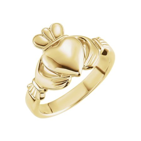 14k Yellow Gold 8.5mm Claddagh Ring - Size 8 (Yellow Gold Engagement Claddagh Ring)