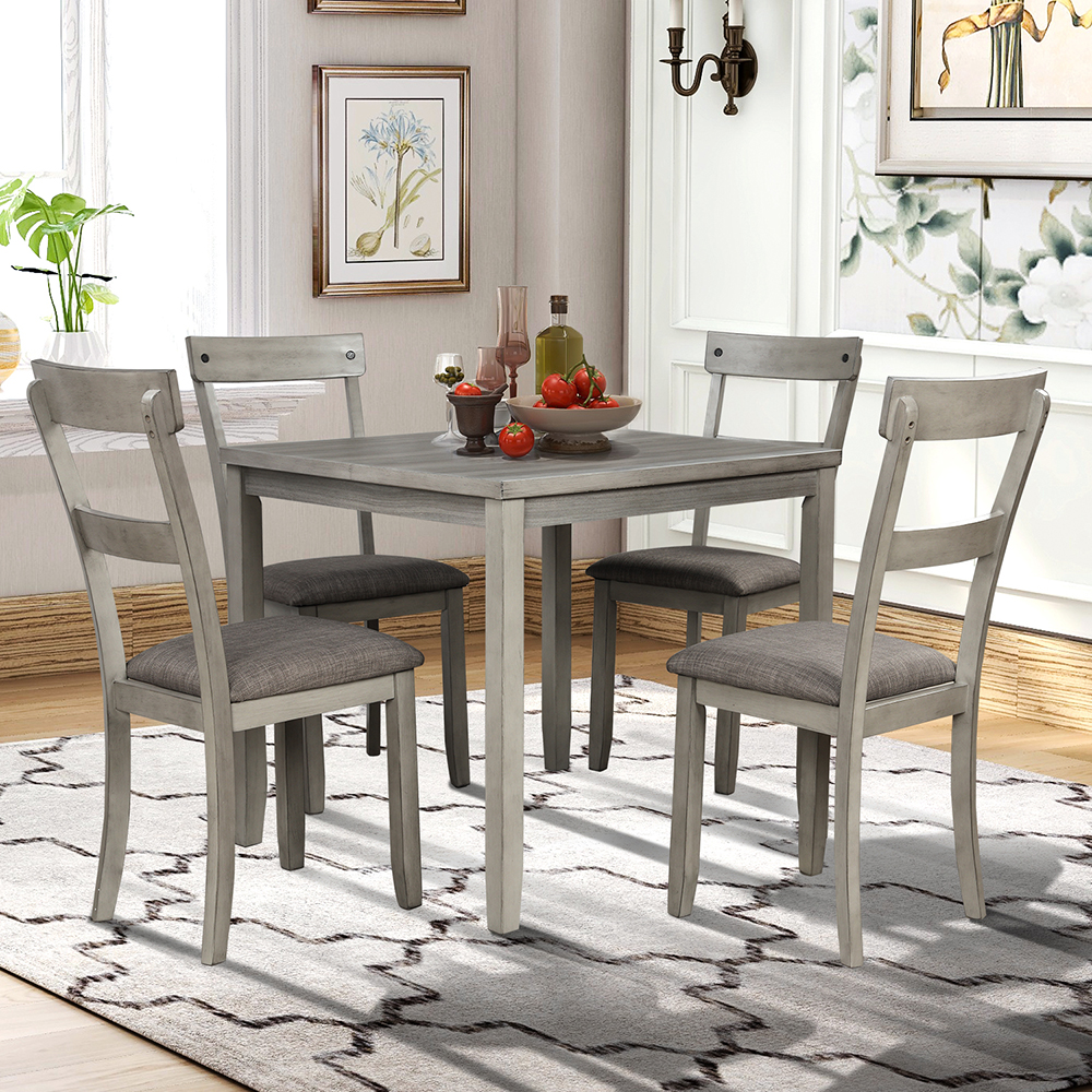Veryke Industrial 5 Piece Dining Table Sets, Country Style ...