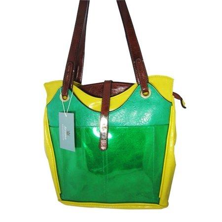 Aryana Junior Womens Green Yellow Double Shoulder Strap Fashion Handbag Purse