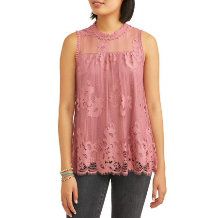 Juniors' All Over Lace Swing Peasant Tank - Lace Swing Top